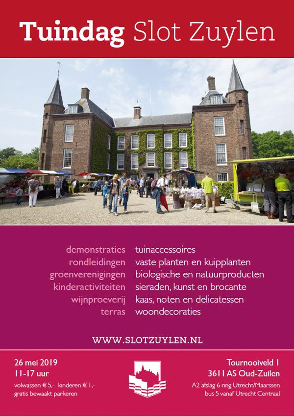 Tuindag 2019 Slot Zuylen Utrecht programma agenda zondag 26 mei 2019å